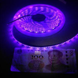 Tira de luz LED UV 1M 60LEDs 5050 395nm-400nm impermeable de la pesca de luz nocturna Esterilización implícitamente partido con la fuente de alimentación de 12V