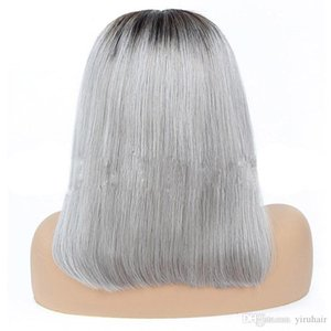 Peruvian Human Hair 1B Grey 13X4 Lace Front Wig Bob Wigs Straight 1B Pink 13 By 4 Lace Front Bob Wig 10-16inch