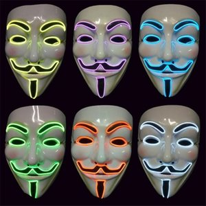 Vendetta EL fil Mask Fashion Party V Cosplay Costume Guy Fawkes Anonyme Masque pour Halloween Party ST030 Scary Décoration