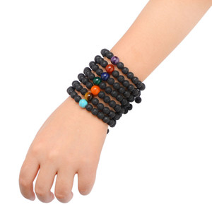 Free DHL 10mm Turquoise Lava Rock Beads Bracelets 7 Styles Natural Stone Aromatherapy Bracelet 7 Chakra Yoga Bracelet Christmas Gift