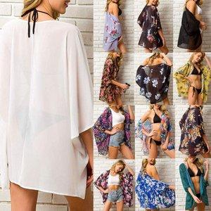 Лето Женщины шифон Цветочные Кимоно Бич Кардиган Sheer Cover Up Купальники Длинные Блуза Рубашки женские Топы
