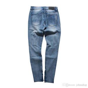 2019 Autumn and Winter New Cotton Hole Slim Jeans Men Ankle Zipper Streetwear Denim Pencil Pants Taper Hip Hop Men's Jeans Pants