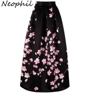 Neophil 2018 старинные Сакура цветок печати высокой талией дамы Макси длинные черные юбки плиссированные женщины Лонга Saia Falda Larga MS1021