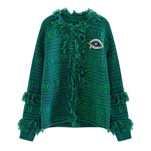 세련된 여성 니트 가디건 패션 다이아몬드 눈 패널 술 디자인 겨울 따뜻한 캐주얼 코트 유행 레이디 외부 스웨터 재킷