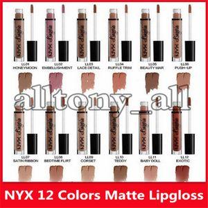 Hot New Makeup Lips NYX Lip Lingerie Matte Lip Gloss Liquid Matte Lipstick Lip Gloss with 12 Colors
