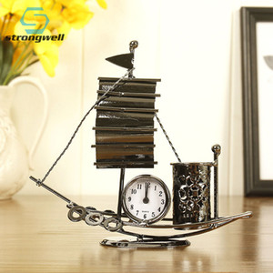 Strongwell Iron Sailing Model Clock Ornaments Antique Craft Pen Holder Multifunctional Home Decoration Accessories Room Gifts T200703