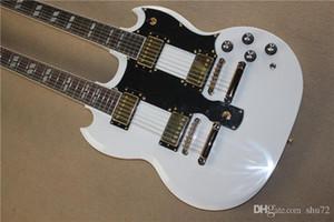 frete grátis New Top Quality instrumento musical ouro Hardware dobro do pescoço da guitarra elétrica branca 1117