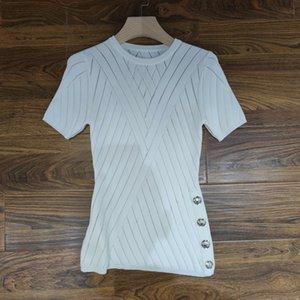 2021 Milan Designer Runway Neck Summer T-Shirt Spring Panelled Women's T-Shirt O Pullover Women 0417-30 Dqmva