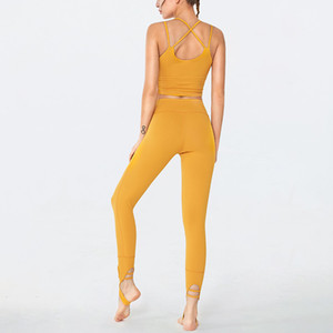 2 Piece Energy Seamless Yoga Set Leggings Sexy Strappy Women Fitness Clothing Sportswear Woman Gym Sports Bra Sports Suits