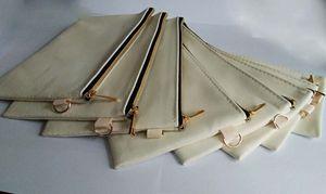 DHL50pcs Cosmetic Bag Black Gold Reißverschluss Baumwolle Leinwand kosmetische Beutel DIY Frauen leer unifarben Telefonhandtasche Veranstalter Fälle