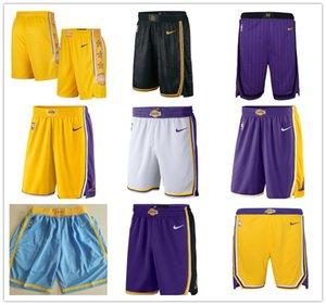 LosAngelesLakerscidade Calças dos homens Ícone Swingman Desempenhobasquete da NBA Shorts S-2XL