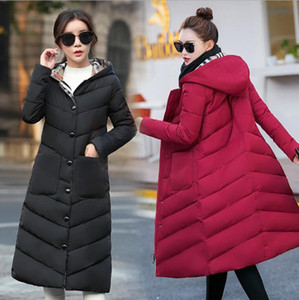 Long Coat Com casaco com capuz Feminino Mulheres Winter grossa para baixo Cotton Pockets Jacket Womens Outwear Parkas Plus Size XXXL