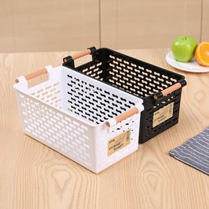 Weiß Schwarz Kunststoff Aufbewahrungskorb Küchentisch Aufbewahrungsbox Badezimmer Kosmetik-Sonnenkassetten-Container