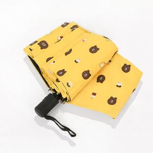 Moda Katlanır Şemsiye Karikatür Anti-UV su geçirmez Taşınabilir Seyahat Şemsiye Karikatür Bear 3 Katlama Otomatik Şemsiye Kadınlar Hediye BH2382 CY