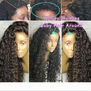 Pré arrancado 360 Lace Wig frontal com Cap brasileira Curly frontal Natural da linha fina curto 360 peruca completa Lace (12 polegadas, 130%)