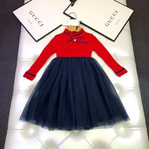 Kız çocukları elbise tasarımcısı clothingl basit örgü dikiş kazak elbise size100-140WSJ001 sıcak ve rahat çocuk prenses elbise