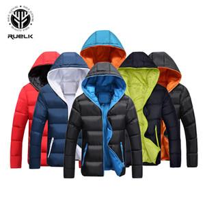 RUELK nuovi uomini rivestimento di inverno caldo casuale Miscela del cotone maschio Parka con cappuccio di colore solido tuta sportiva di modo Nord Del Viso Mens Coat S191128
