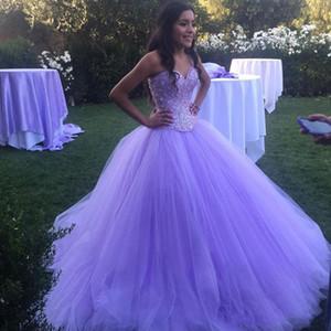 Sparkly Lavender Prom Lange Quinceanera Kleider Maskerade Schatz Open Back Bling Kristall Festzug Kleider Für Sweet 16 Nach Maß