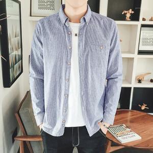 Shirt à manches longues Casual vrac Homme Printemps Automne Designer Shirt Vêtements pour hommes Striped Lapel
