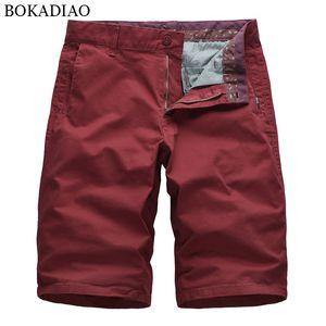 vendimia masculina de los pantalones cortos suelto recto casuales de la moda de algodón Pantalones cortos de carga BOKADIAO hombres del verano pone en cortocircuito Bermuda Beach Streetwear