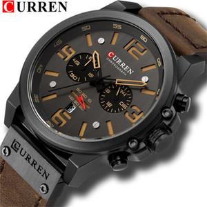 CURREN nuevos Mens relojes Top gran línea de reloj de cuarzo de cuero resistente al agua deporte reloj cronógrafo de los hombres