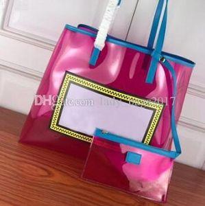Clásico mujer Compras bolsas transparentes bolsos con letra grande bolsa de asas de Flash Manguitos de PVC transparente Bolsos Petate