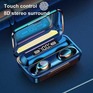 F9-5 TWS sans fil Bluetooth écouteurs avec micro 5.0 tactile écouteurs stéréo 9D Sport Affichage LED étanche Casque Oreillettes