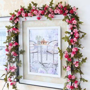 230cm Long Rattan Vine Roses Artificial Flower Green Leaves Handrail Hanging Garland Silk Flowers for Wedding Home Decoration