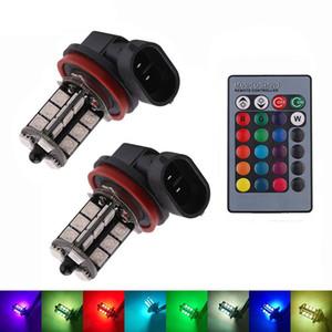 2pcs 3 LED de base à distance Contrôle flash Phares antibrouillard voiture phares DRL Ampoule lampe Kit Headlamp ambiance H8 / H9 / H11-RGB 5050 27SMD