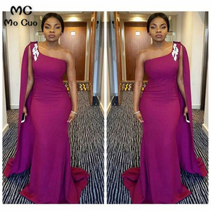 2021 One Shoulder African Mermaid Bridesmaid Dresses Long Elastic Satin Prom Gowns Evening Dress Plus Size Custom Made Sleeveless Modest
