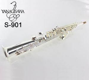 Alta calidad Yanagisawa Soprano Saxofón S-901 plateado saxofón del soprano profesional de los instrumentos musicales envío