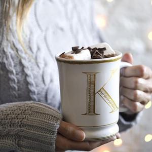 Dossier créatif plaqué or lettre modèle blanc en céramique porcelaine bureau tasse de café avec poignée petit déjeuner tasse de lait ami cadeaux