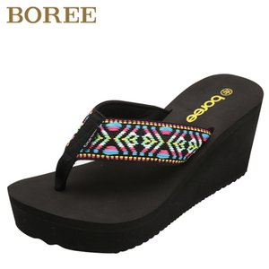 Boree 2020 Summer Woman Slippers Casual Beach Outdoor Home High Heels Platform Female Shoes Flip-Flops Shoes femme pantoufles