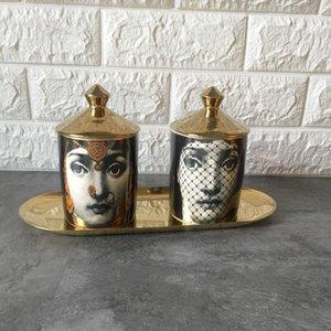 Suporte de vela DIY artesanal de velas do frasco cara retro Lina Armazenamento Bin Ceramic CAFT Decoração Jewerlly Caixa de armazenamento