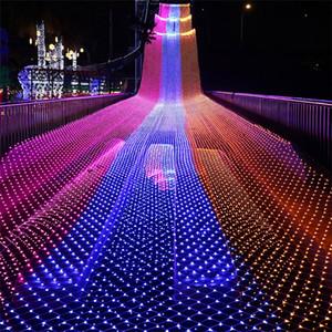 LED de luz Nets 8m * Lámparas * 10m 6M 4M 3M 2M * 2m * 2m * 1.5M 1.5M LED MeshString luces netas de techo fiesta de Navidad decoración de la boda al aire libre