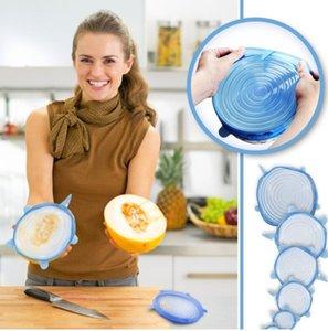 Silikon Stretch Emiş Pot Kapaklar Food Grade Taze Tutma Wrap Mühür Kapak Pan Kapak Güzel Mutfak Aksesuarları 6PCS / Seti DHA284