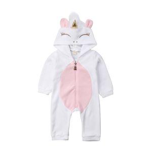 Animais bonitos com capuz flanela Romper miúdo recém-nascido roupa do bebê da menina Macacão Inverno Quente Roupas Baby Girl 0-24M