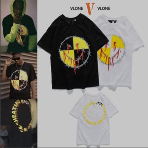 XXLvlone 여름 남성 T 셔츠 편지 힙합 여성 반팔 T 셔츠와 함께 웃는 얼굴 인쇄 상단을 맞춤