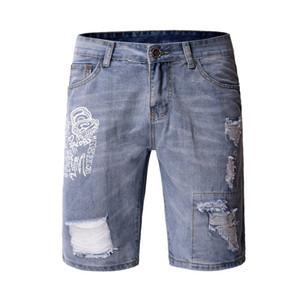 Jeans cortos para hombre Impresión de agujeros de personalidad Lavado Casual Slim Fit Verano Nuevo estilo Diseñador de moda Homme Jeans