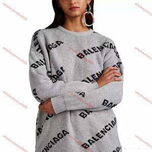 Balenciaga sweater xshfbcl Frauen Basis-Jacquard Brief Rundhalsausschnitt-Knit Pullover-lose Pullover Männer und Frauen Herbst und Winter wesentlich Doppel Jacquard