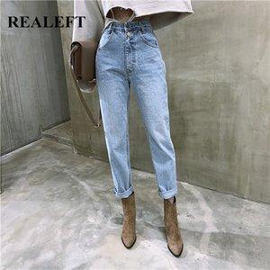 REALEFT New 2020 Summer Vintage taille haute de droite Femme Jeans Pantalons Boutons Streetwear desserrées Zipper Femme Jeans