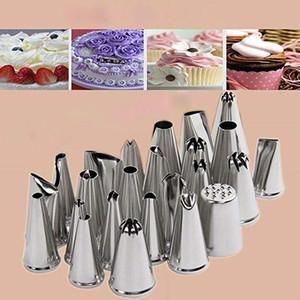 12-Piece Cake Decoração Suprimentos Dicas Kits de Aço Inoxidável Baking Supplies Glacê Dicas com Sacos de Pastelaria Sacos de Piping Set com decoração ti