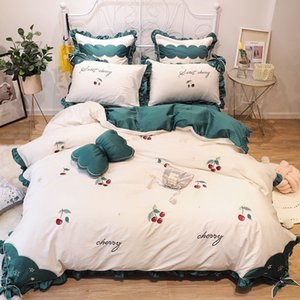 Red Cherry Embroidery Cotton Luxury Bedding Sets King Queen Size Princess Girls Home bedding White Green Ruffle Duvet Cover Sets Bed Sheets