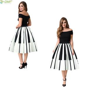 In bianco e nero Tasti di pianoforte Stampa Lady Vintage Gonne Moda pieghe a pieghe Gonne Midi Saia Ball Gown Elegante Saia Y190428