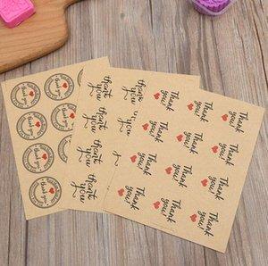 Rodada Obrigado Amor Coração Adesivos de Vedação Autoadesiva Kraft Etiqueta Etiqueta DIY Feitas À Mão Presente Bolo Doces Etiquetas de Papel