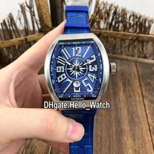 New Saratoge Yachting Steel Case V45 SC DT Yachting OG Azul Dial Automático Mens Relógio Azul Borracha / Couro Strap Sport Watches Hello_Watch.
