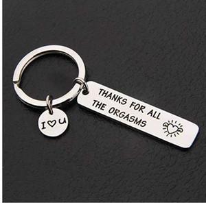 Chaveiro personalizado gravado obrigado por todos os orgasmos eu te amo chaveiro Chaveiro casal jóias presentes dar ao meu namorado marido
