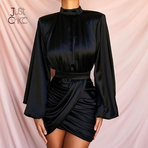 Justchicc Bandage hiver robe à manches longues femmes O cou moulante taille haute Robe Nuit Sexy Party Club Robes noires Robes