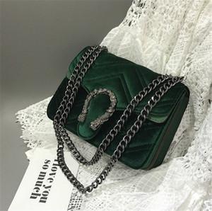 Bordado clásico cerradura de terciopelo del bolso del bolso de las mujeres de lujo Deaigner Invierno Nueva cabeza de serpiente bolsa de línea ondulada Cadena Bolsa de Mujeres temperamento elegante 7