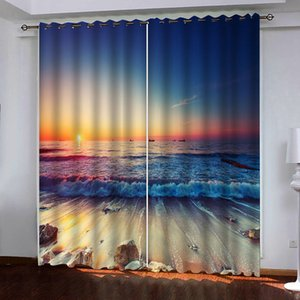 Custom sunset waves 3d curtains Window Blackout Luxury 3D Curtains set For Bed room Living room Office Hotel